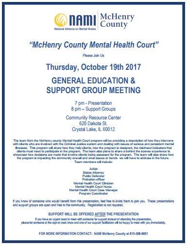 October's general education and support group meeting