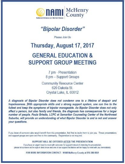 Thursday August 17th general education abd support group meeting
