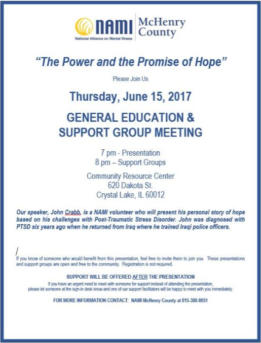 Thrusady, June 15th general education and support group meeting