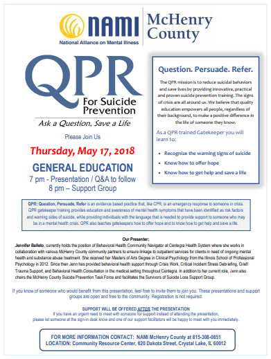 General education meeting thursday may 17th 2018, suicide prevention